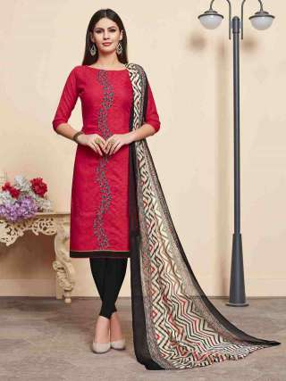 Red Lakda Jacquard Fabric Top With Cotton Bottom Casual Wear Dress Material