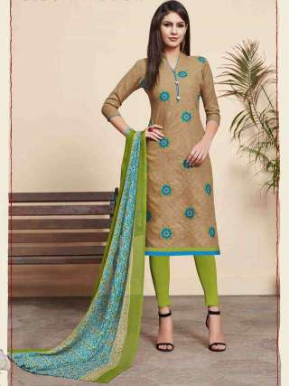 Beige Colored Lakda Jacquard Fabric Top With Cotton Bottom Casual Wear Dress Material