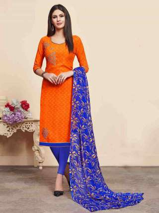 Orange Lakda Jacquard Fabric Top With Cotton Bottom Casual Wear Dress Material