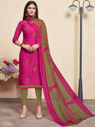 Rani Pink Lakda Jacquard Fabric Top With Cotton Bottom Casual Wear Dress Material