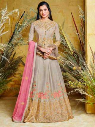 Pleasant Grey Colored Heavy Net With Pure Silk Partywear Embroidered Anarkali Suit