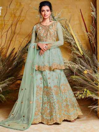 Gorgeous Light Blue Colored Heavy Net With Pure Silk Partywear Embroidered Anarkali Suit