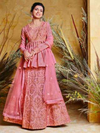 Lovely Pink Colored Heavy Net With Pure Silk Partywear Embroidered Anarkali Suit