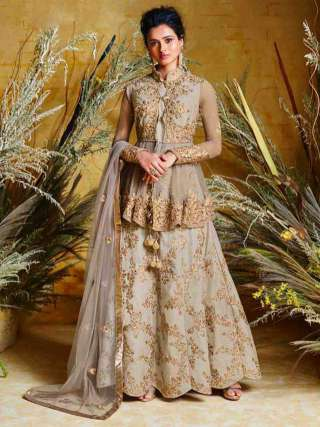 Surpassing Grey Colored Heavy Net With Pure Silk Partywear Embroidered Anarkali Suit