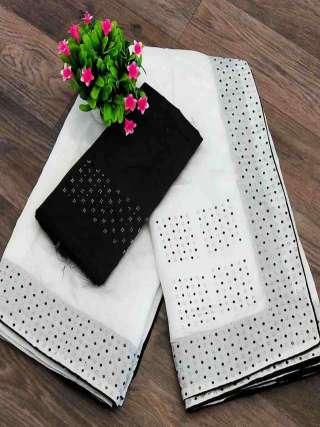 White Colored Partywear Sanna Silk Fabric With Machin Stone Bordered Saree