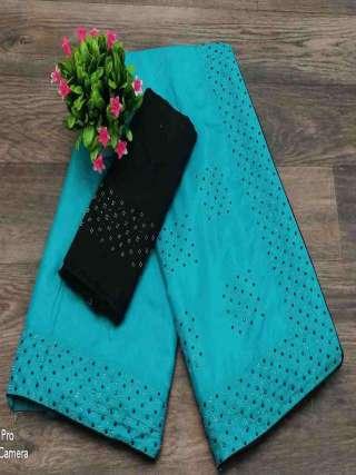 Cyan Colored Partywear Sanna Silk Fabric With Machin Stone Bordered Saree