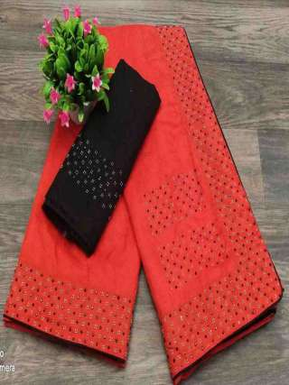 Red Colored Partywear Sanna Silk Fabric With Machin Stone Bordered Saree