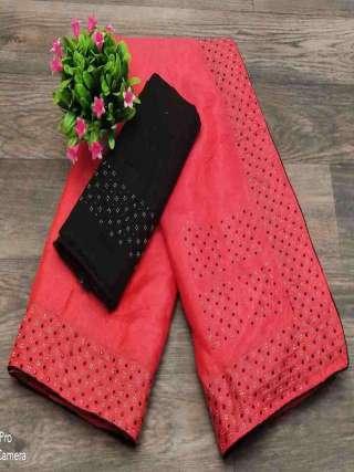 Pink Colored Partywear Sanna Silk Fabric With Machin Stone Bordered Saree
