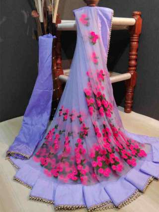 Lavender Colored Partywear Embroidered Natted saree DVDPC1199-O