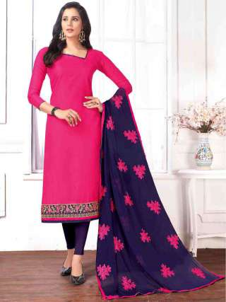 Pink Cotton Buti Top With Cotton Botom With Nazmin Work Dupatta