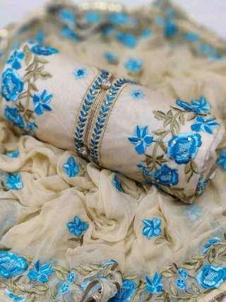 Cream Blue Chanderi Dupta Work Top With Santoon Bottom Dress Material