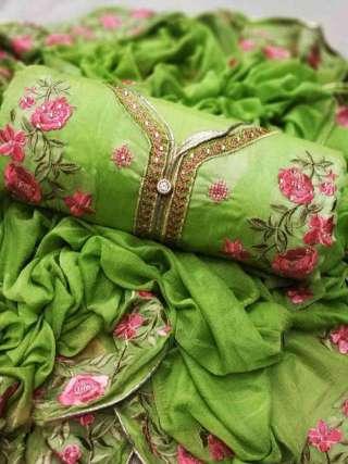 Green Chanderi Dupta Work Top With Santoon Bottom Dress Material