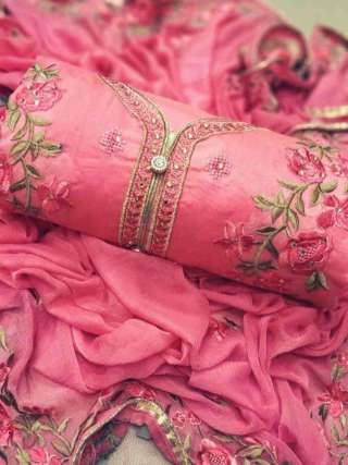 Pink Chanderi Dupta Work Top With Santoon Bottom Dress Material