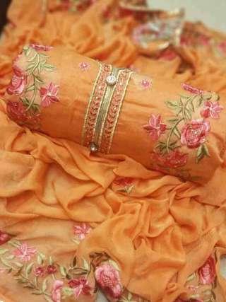 Orange Chanderi Dupta Work Top With Santoon Bottom Dress Material