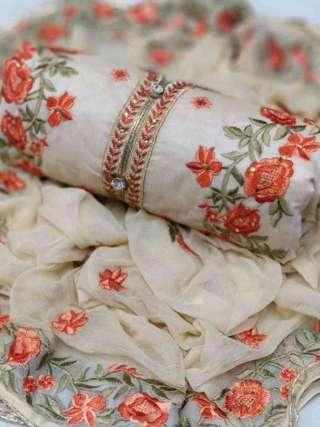 Cream Chanderi Dupta Work Top With Santoon Bottom Dress Material