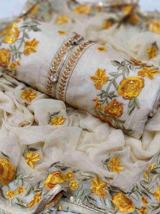 Cream Yellow Chanderi Dupta Work Top With Santoon Bottom Dress Material