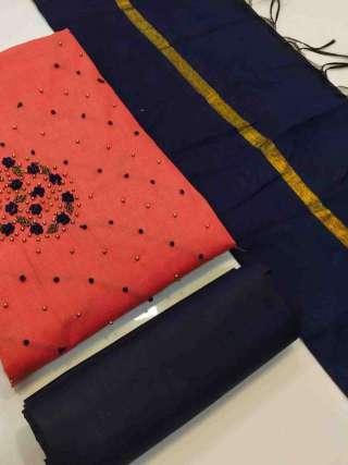 Peach Semi Modal Fabric Top With Heavy Santoon Bottom Dress Material