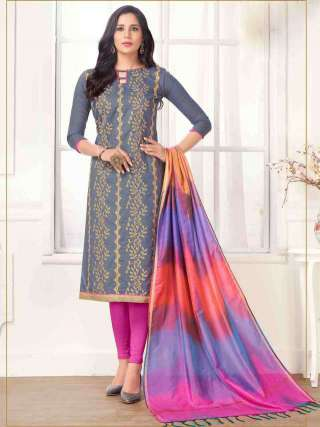 Grey PC Cotton Top With Cotton Bottom Casual Wear Dress Material