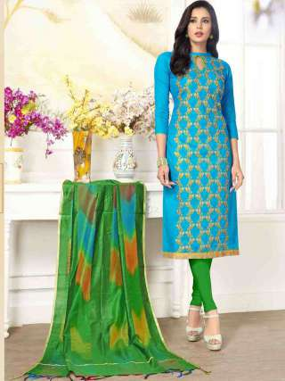Cyan PC Cotton Top With Cotton Bottom Casual Wear Dress Material