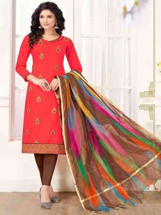 Gajari Pink PC Cotton Top With Cotton Bottom Casual Wear Dress Material