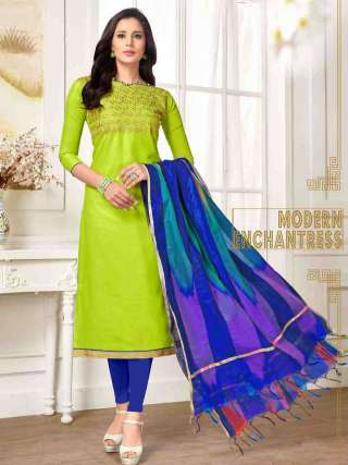 Lime Green PC Cotton Top With Cotton Bottom Casual Wear Dress Material