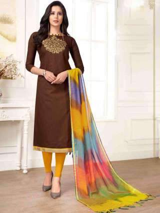 Coffee PC Cotton Top With Cotton Bottom Casual Wear Dress Material