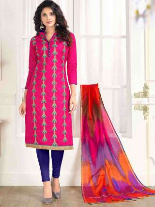 Pink PC Cotton Top With Cotton Bottom Casual Wear Dress Material
