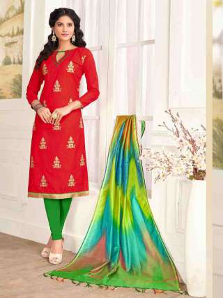 Red PC Cotton Top With Cotton Bottom Casual Wear Dress Material
