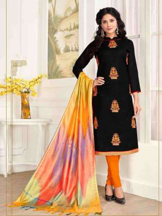 Black PC Cotton Top With Cotton Bottom Casual Wear Dress Material