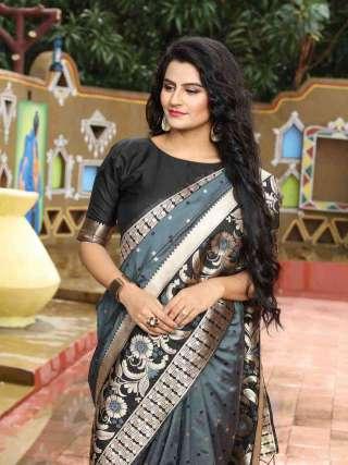 Beautiful Black and Grey Silk Jacquard Saree