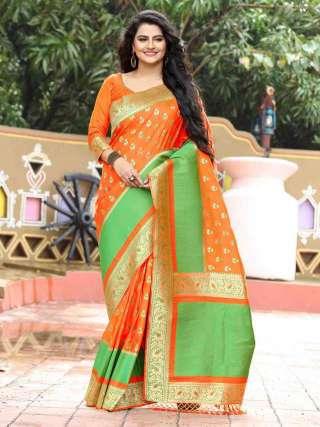 Timeless Orange and Green Silk Jacquard Saree