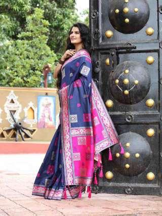 Pretty Pink and Blue Silk Jacquard Saree