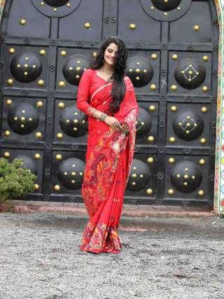 Charming Printed Red Silk Jacquard Saree