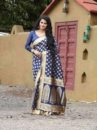 Rich Blue Silk Jacquard Saree