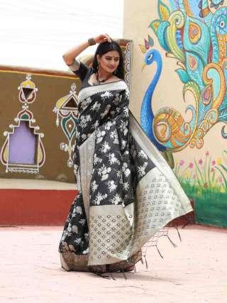 Exquisite Charcoal Grey Silk Jacquard Saree