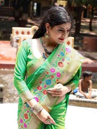 Mesmerising Parrot Green Silk Jacquard Saree