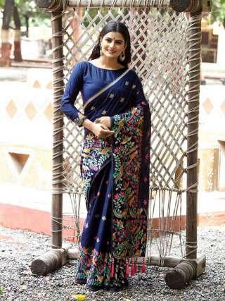 Designer Dark Blue Silk Jacquard Saree with Multicolor Floral Print