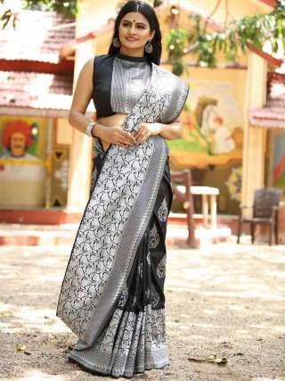 Gorgeous Black and Silver Silk Jacquard Saree