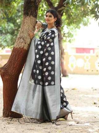 Stunning Black and Silver Silk Jacquard Saree