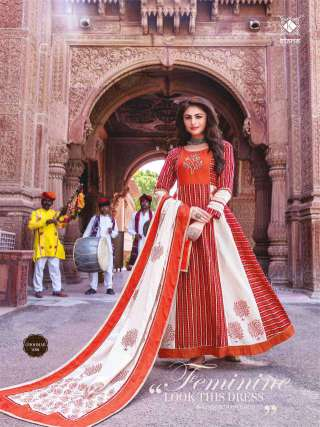 Red and White Cotton Embrodiery Work Long Gown With Dupatta
