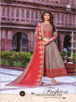Beautiful Colored Cotton Embroidery Work Long Gown With Dupatta