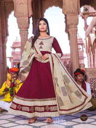 Maroon Colored Cotton Embroidery Work Long Gown With Dupatta