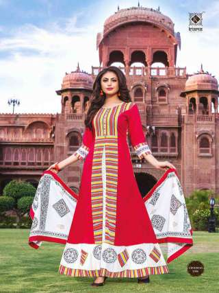 Red Colored Cotton Embrodiery Work Long Gown With Dupatta