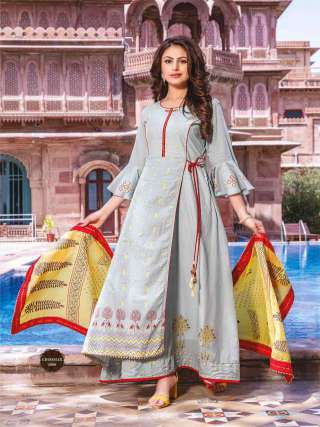 Light Grey Colored Cotton Embrodiery Work Long Gown With Dupatta