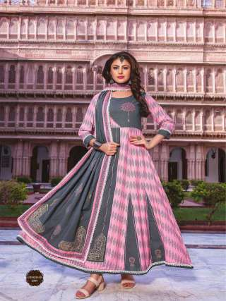 Grey n Pink Color Cotton Embrodiery Work Long Gown With Dupatta