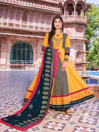 YELLOW COLOR COTTON EMBRODIERY WORK LONG GOWN WITH DUPATTA