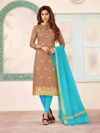 Beige Banarasi Fabric Top With Cotton Bottom Casual Wear Dress Material