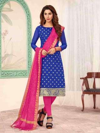 Blue Banarasi Fabric Top With Cotton Bottom Casual Wear Dress Material