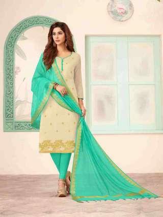Cream Banarasi Fabric Top With Cotton Bottom Casual Wear Dress Material