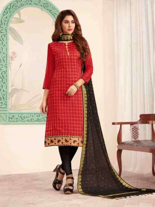 Red Banarasi Fabric Top With Cotton Bottom Casual Wear Dress Material